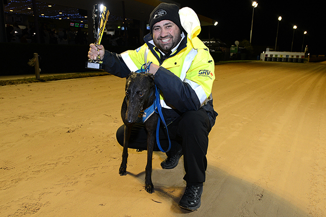 Reefton Treasure, with trainer Anthony Azzopardi after winning the Byers Electrical Cup Night Stayers