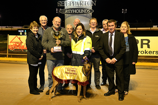 Zinzan Brooke and Brooke Ennis with VIPs after his Shepparton Cup win